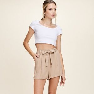 New! Taupe Elastic Waist Solid Shorts